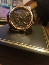 BULOVA MENS WATCH ROSE GOLD BEZEL BROWN LEATHER STRAP