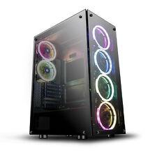 ATX Mid-Tower Gaming PC Case darkFlash Phantom with 6pcs DR12 RGB Fans Black