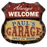 BPMG0013 Welcome PAUL'S GARAGE Rustic Sign Father's Day Gift Ideas For Man