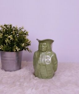 "Lenox Toby Pitcher Mug William Penn Treaty Face  Handle Green Vintage 6.5"""