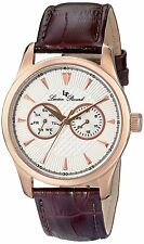 Lucien Piccard NEW LP-12761-RG-02S-BRW Men Stellar Analog Rose Gold Plated Watch