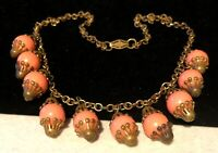 """Rare Vintage Early Miriam Haskell Coral Glass 18""""x1"""" BIb Dangle Necklace A18"""