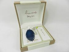 Sterling Silver Necklace, Blue Agate Slice Peace Inspirational Pendant MSRP $100