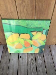 Werzalit Commercial Indoor/Outdoor Patio Table Tops Green Orange Modern Art