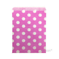 """5/"""" x 7/"""" Pick and Mix Bags 50 x Purple with White Polka Dots Paper Bags"""