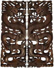 Lucky Chinese Dragon Carved Wood Panels. Asian Home Decor.Set of 2.Dark Brown