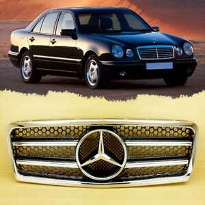 1996-1999 Pre-Facelift Gloss Black Front Grille For Mercedes Benz E-Class W210