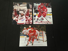 HOLMSTROM/MCCARTY/DRAPER AUTOGRAPH 8 X 10 PHOTO DETROIT RED WINGS 3 PHOTO LOT