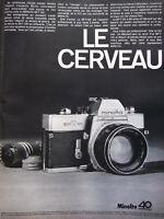 PUBLICITÉ DE PRESSE 1968 APPAREIL PHOTO MINOLTA SR-T-101 LE CERVEAU
