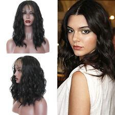 Short Wavy Bob Brazilian Hair Wigs Black Color Synthetic Lace Front Wig Babyhair
