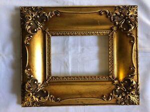 Bilderrahmen alt Holz Gold farben Barock Belgien um 1960 Falz: 18x13 Nr. A12