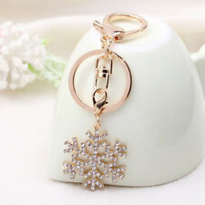 Gold-color Christmas Gift Crystal Jewelry Key Ring Snowflake Keychain Pendant
