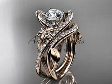 Unique Engagement Ring, 14k Rose Gold Diamond Flower Wedding Ring Set ADLR369S