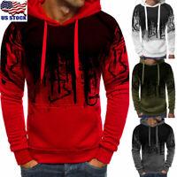 Mens Warm Hoodie Fleece Tops Hooded Jacket Casual Sport Sweatshirt Pullover Coat