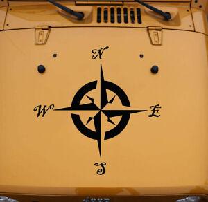 Compass Rose Hood Decal V1 - Off-Road 4x4 Travel - Vinyl Die Cut Sticker