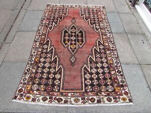 Vintage Worn Hand Made Traditional Oriental Wool Pink Brown Red Rug 193x122cm