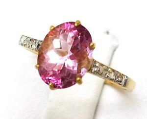 BESTJEWELLERY 10KT YELLOW GOLD NATURAL PINK TOPAZ & DIAMOND RING SIZE 7    R1046