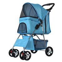 Portable 4 Wheels Pet Stroller Cat Dog Cage Stroller Travel Folding Carrier New