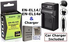 Li-Ion Hi-Cap EN-EL14a Battery & 110/220V Charger for Nikon D3100 D3200 D3300