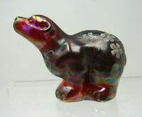 Fenton Polar Bear Ruby Red Stretch Glass Iridized Carnival HP