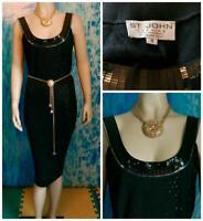 ST. JOHN Evening Knits Black Dress L 10 12 Paillettes Sleeveless Sheath Shimmer