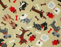 """14"""" REMNANT FABRIC  WHIMSICAL MIXED DOG BREEDS   PUPPIES  PUPS 100% COTTON SCRAP"""