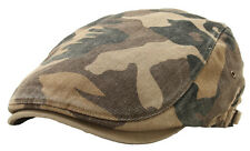 Brown Camouflage Military Pattern Washed Cotton Flat Cap Newsboy Driving Hat