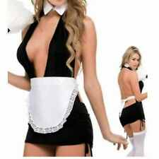 French Maid Fancy Dress Size 10 - 12 Lingerie Roleplay Plunge Dress Apron Collar