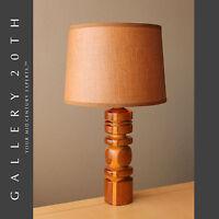 DELICIOUS! DANISH MODERN MID CENTURY CARVED WOOD LAMP! 50'S WEGNER VTG 60S RETRO