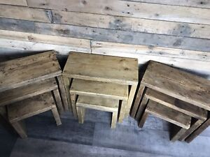 Rustic reclaimed wood Nest Of Tables farmhouse side table set.