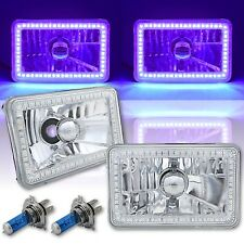 4X6 Purple SMD LED Halo Angel Eye Headlight Headlamp Halogen Light Bulbs Pair