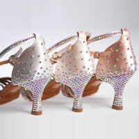 Damen Strass Satin Knöchelriemen pumps Samba Tango Tanzschuhe party High Heels