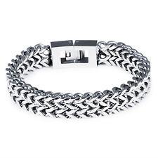 Herren Edelstahl Armband Armkette Armreif Silber Steel Schmuck Massiv 21 cm