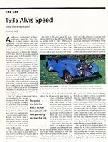 1935 Alvis Speed  Original Car Review Print Article J607