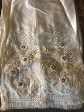 Pakistani Women White Pants Embroidered 3d Flower Fringe Eid Latest Style Sz M