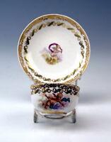 ALT WIEN SAMMEL TASSE PUTTEN AMOR FIGUREN GOLDMALEREI CUP WITH SAUCER UM 1783