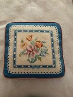 "Throw Pillow, Needlepoint, Removable, late 60s 14.5"" square"