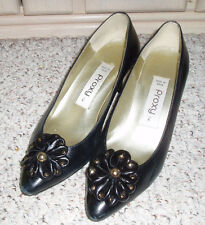 PROXY Leather with Gold Studded Bow Dressy High Heel Shoes~Black w/Gold~Size 6 M
