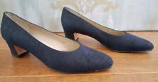 EUC *Salvatore Ferragamo* Women's Navy Textured Suede Leather Pumps Shoes 7.5
