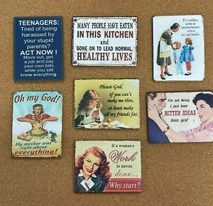 Vintage Retro Metal Magnet Sign Mothers Mum Friend Kids Funny Quote Filler Gift