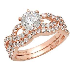 1.45ct Round Cut Wedding Promise Engagement Bridal Ring Band set 14k Rose Gold
