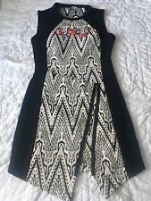 Desigual Women's Black Floral Asymmetrical Sleeveless Dress Size 38 US 6