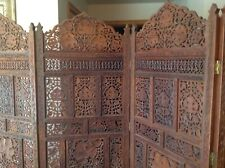 "Vintage Ornate Solid Wood Asian Hand Carved 4 Panel Room Divider 80"" Wide RARE"