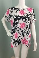 NWT Women's Vince Camuto Black/Pink Floral Cold Shoulder Blouse Top Sz Medium