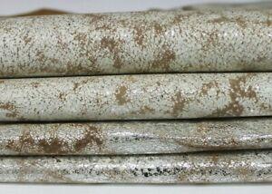 METALLIC SILVER ANTIQUED CAMEL DISTRESSED Pigskin leather 2 skins = 8sqf 0.6mm
