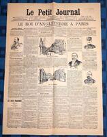 La Une Du Journal Le Petit Journal 2 Mai 1903 Le Roi D'Angleterre À Paris