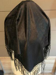 Seidentuch Trachtentuch Dirndltuch schwarz + Fransen Tuch
