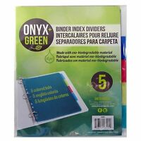 Onyx and Green Binder Index Dividers 5 Pack with Tabs Biodegradable Material