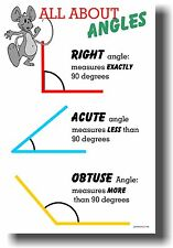 All About Angles - Right, Acute & Obtuse - NEW Classroom Math Geometry POSTER