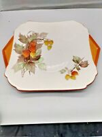 "Vintage Shelley Cake Plate, Orange , Yellow Floral, very Art Deco 10"" x 8"""